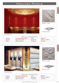 The Embossed Wall Panels  give each wall or surface a unique character of its own. These easy-to-install wallpaper panels are made from ecological pressed bamboo pulp and feel like hardboard. All designs are expandable in any direction with an automatic pattern repeat, and can be finished in any colour.