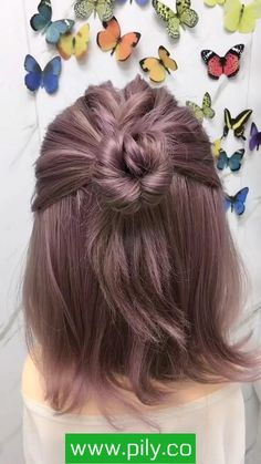 Bun Hairstyles For Long Hair, Braids For Short Hair, Diy Short Hair, Short Hair Hacks, Short Hair Ponytail, Office Hairstyles, Anime Hairstyles, Stylish Hairstyles, Hairstyles Videos