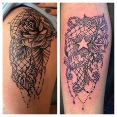 Tatouage dentelle by Merries Melody tattooshop66 - http://merriesmelody.com