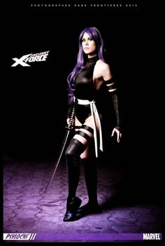 Marvel Comics: X-Men. Character: Psylocke. Cosplayer: Lucy Lemoine 'aka´Lady Lemon 'aka' Lilia Lemoine. From: Argentina. Event: After Friends 2012. Photo: Fernando Brischetto. That´s is the first costume made for Lucy in noir colour. The second is the same costume turned upside down in the correct purple colour.