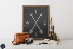 Printable Compass Art - Rustic / Home Decor / Wall Art / Woodland / Arrow / Printable / Instant Download