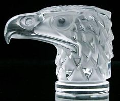 Lalique car hood mascot glass crystal Eagle head