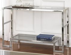 OVERSTOCK CORDELE CHROME AND GLASS SOFA TABLE $240