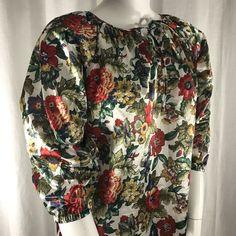 78de705f9a Vtg 70s Village Fair Womens L Caftan Housecoat Robe White Floral Made In  USA