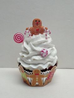 Gingerbread Man Fake Cupcake Photo Prop by FakeCupcakeCreations, $14.00