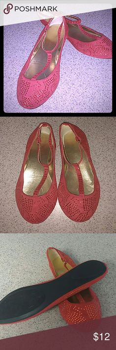 Ruby Slippers by Rampage NWOT sz 9.5 Wonderful, sparkly red flats by Rampage. T-strap buckle on the top. Never been worn, faux suede like fabric covered in red sparkles. Perfect for a night out or walking down the yellow brick road :) Sz 9.5 Rampage Shoes Flats & Loafers