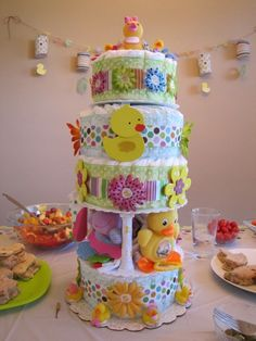 I made this diaper cake for my sister-in-law's baby shower for her baby girl.