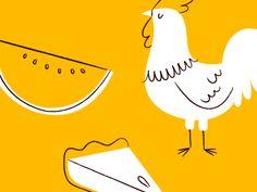 watermelon chicken pie by Lydia Nichols Chicken Logo, Chicken Art, Character Illustration, Graphic Design Illustration, Illustration Art, Watermelon Chicken, Watermelon Pie, Chicken Illustration, Mid Century Art
