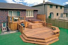 Have a look at the image, that how professionally the designer gas arranged the small space into sections? The three divided sections of the beautiful patio deck are meant for dining, one for relaxing and the lower one is adjusted to have the pleasurable sitting arrangement. The gorgeous steps with lights are also adding charm to this decking idea.
