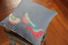 Spring Birdie Pillow by maureencracknell, via Flickr. Bird applique from fabric scraps.