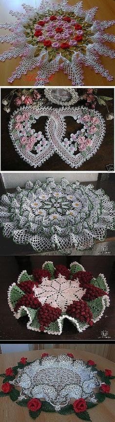 "(doesn't look like patterns are included) "" My grandmother used to make these beautiful doilies."", ""Gorgeous crochet pattern for this floral Crochet Doily Patterns, Crochet Art, Crochet Home, Thread Crochet, Love Crochet, Beautiful Crochet, Vintage Crochet, Crochet Designs, Crochet Crafts"