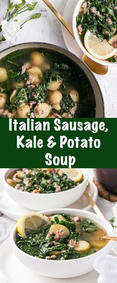 Italian Sausage, Kale, and Potato Soup is an easy make at home soup with limited ingredients and packed with vegetables. #soup #comfortfood #winter