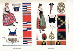 National Costumes of Finland: Puulaveden puku & Etelä-Pohjanmaan puku Folk Costume, Costumes, Ethnic Outfits, Ethnic Clothes, Nordic Design, Ancestry, Folklore, Traditional Outfits, Handicraft