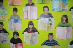 Isn't this 3D book review display fantastic!? I love how the photos make it look like the children are reading the books... Thanks to The Ins and Outs for the inspiration. This would make the perfe...