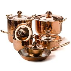 Shop Amoretti Brothers - Fiore Cookware Set at Peter's of Kensington. View our range of Amoretti Brothers online. Why in the world would you shop anywhere else for Amoretti Brothers? Copper Handles, Copper And Brass, Bronze, Copper Cookware Set, Copper Kitchen, Buy Kitchen, Kitchen Tools, Kitchen Gadgets, How To Polish Copper