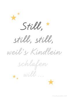 """Im Adventskalender: Kostenloser Print/Druck (PDF) fürs Kinderzimmer """"Still, still, still"""" - eine wunderschöne Deko nicht nur für die Weihnachtszeit!"""