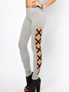 Grey Slim Bandage Elastic Pant - Sheinside.com Mobile Site