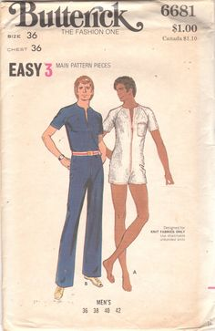 65be500b5da 1970s Butterick 6681 Mens Zip Front Jumpsuit Pattern by mbchills Mens  Sewing Patterns