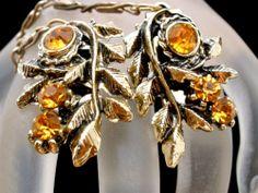 Vintage Leaf Flower Rhinestone Sweater Clip Stylized Estate Jewelry Yellow