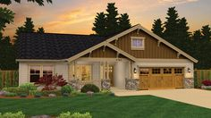 Home Plan HOMEPW76735 - 1785 Square Foot, 3 Bedroom 2 Bathroom Craftsman Home with 2 Garage Bays | Homeplans.com