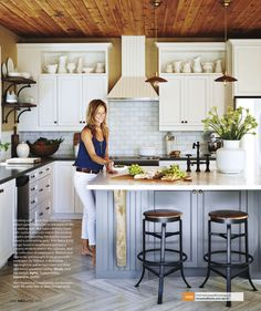 Clean white and rustic kitchen.