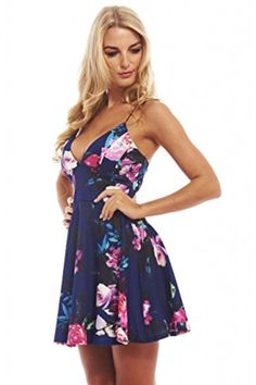 AX Paris Women's Floral Plunge Front Skaternavy Dress(Blue Floral, Size:8) - Brought to you by Avarsha.com