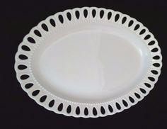 """I Godinger Co White 14"""" Oval Serving Platter Tray Eyelet Lace like edge insured"""