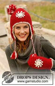 "Set consists of: Crochet DROPS hat and mittens in ""Eskimo"" or ""Andes"" with flower in ""Karisma"". ~ DROPS Design"