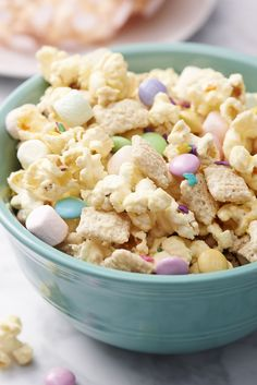 This popcorn snack mix with M&M'S is perfect for any springtime gathering!