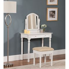 Shop KB Furniture Vanity Table & Stool Set at Lowe's Canada. Find our selection of bedroom vanities at the lowest price guaranteed with price match. Mirrored Bedroom Furniture, Furniture Vanity, Vanity Stool, Wood Vanity, Vanity Set With Mirror, White Vanity, Living Room Sets, Bedroom Sets, Master Bedroom