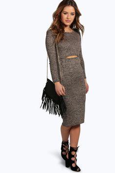 Petite Esme Key Hole Detail Knitted Midi Dress
