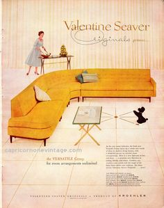 1957 Valentine Seaver Originals Magazine Ad Kroehler Mid Century Sectional Sofa Retro Room Decor 1950s Couch Vintage Advertising