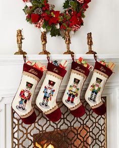 Nutcracker Needlepoint Christmas Stockings by Peking Handicraft at Horchow. Cross Stitch Christmas Stockings, Christmas Cross, All Things Christmas, Christmas Themes, Christmas Decorations, Christmas Ornaments, Peking, Holiday Fun, Holiday Decor