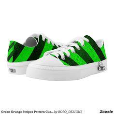 Green Grunge Stripes Pattern Custom Zipz Kickers Printed Shoes