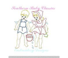 Boy Girl Bathing Suit Summer Vintage Quick Stitch Design File