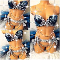 Reserved for Marisya: Galaxy Rave Bra with Matching Half Tutu
