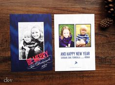 Holiday photo cards in royal blue ikat pattern with fucshia accent by Catherine Kiff-Vozza, Couture Stationer #ckv