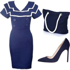 """Sailor Collar Dress"" by XOXO"