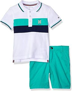 a95016efa Amazon.com: Tommy Hilfiger Boys' Toddler 2 Pieces Polo Shorts Set,  White/Green, 3T: Clothing