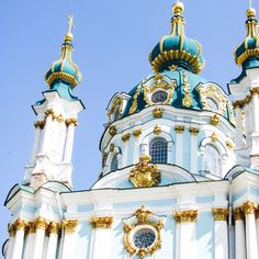 Zooming in on the vibrant colors of St. Andrew's Church in Kiev, Ukraine!
