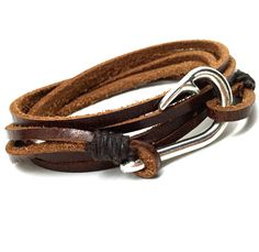 Genuine Leather Silver Fish Hook Coffee Brown Bracelet Nautical Rope Mens Womens #Unbranded #Cuff