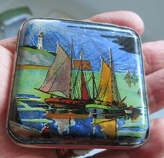Vintage c1930`s ART DECO GWENDA Enamelled with Sailing Boats Powder Compact