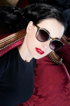 Dita Von Teese in Dita #sunglasses available at www.sunglasscurator.com