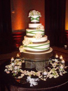 A wedding cake for the modern romantic, created by Chef David Laufer. Wedding theme ideas: Modern, romance, rose petals, Green/White/Brown, stripes #WeddingWednesday