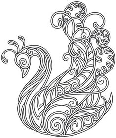 Satin stitch swirls and curls intersect in this magical swan design. Embroider onto apparel, decor, and more! Downloads as a PDF. Use pattern transfer paper to trace design for hand-stitching.