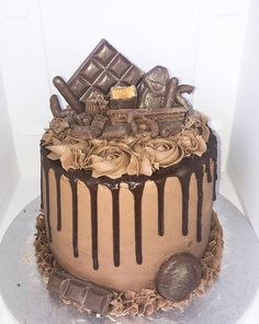 Cadbury Chocolate Birthday Drip Cake   Kaiesha Bakes Chocolate Drip Cake, Cadbury Chocolate, Chocolate Birthday Cakes, Birthday Drip Cake, Novelty Birthday Cakes, Gingerbread Cake, Drip Cakes, No Bake Treats, Fancy Cakes