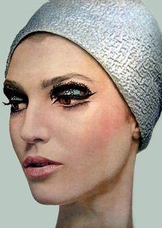 Benedetta Barzini in a Halston hat    Photo by Bert Stern, 1960s