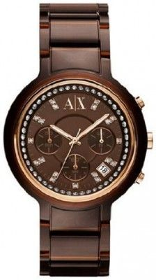 Relógio AX Armani Exchange Dark Brown Crystal Ladies Active Watch AX5142 #Relogios #ArmaniExchange