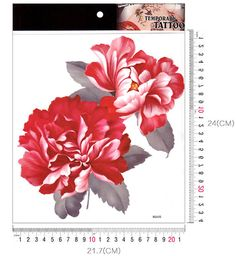 Big red peony flower Large temporary tattoos by Coolfashion4u