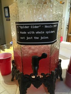 Spider Cider (mixture of Sprite, frozen can of raspberry lemonade, frozen can of berry fruit punch)